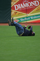 SAN FRANCISCO, CA - SEPTEMBER 14: Photographer Mickey Palmer participates in a fly ball catching contest in right field before the game between the San Diego Padres and San Francisco Giants at AT&T Park on September 14, 2005 in San Francisco, California. Photo by Brad Mangin