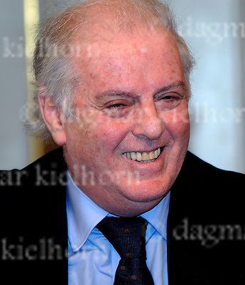 Conductor Daniel Barenboim in a press conference in Berlin,Germany.The West-Eastern Divan Orchestra was scheduled to begin its tenth anniversary concert tour in Doha, Qatar with a concert on January 10th. Due to the escalating violence in Gaza and the resulting concerns for the musiciansÕ safety, the concert had to be postponed indefinitely. The orchestra will instead perform on January 12th in the German State Opera in Berlin.