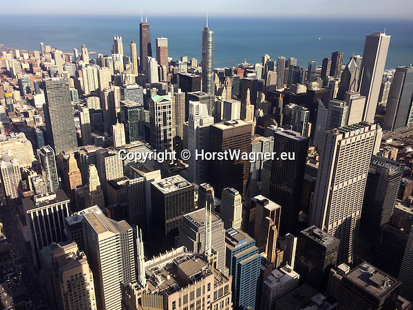 Chicago, Illinois, United States of America / USA; December 28, 2016 -- View from Willis Tower (formerly Sears Tower, after construction highest building in the world with 110 floors) on skyscrapers in downtown -- Photo: © HorstWagner.eu
