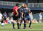 17 June 2007: Referee Niko Bratsis (l) tells New England's Miguel Gonzalez (r) to leave the field after showing him the red card as Marshall Leonard (behind) watches. The New England Revolution Reserves defeated the Columbus Crew Reserves 2-1 on the Gillette Stadium practice field in Foxboro, Massachusetts in a Major League Soccer Reserve Division game.