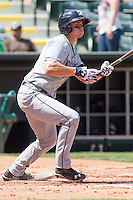 New Orleans Zephyrs catcher Rob Brantly (6) during the Pacific League game at the Chickasaw Bricktown Ballpark against the Oklahoma City RedHawks on April 13, 2014 in Oklahoma City, Oklahoma.  The RedHawks defeated the Zephyrs 4-3.  (William Purnell/Four Seam Images)
