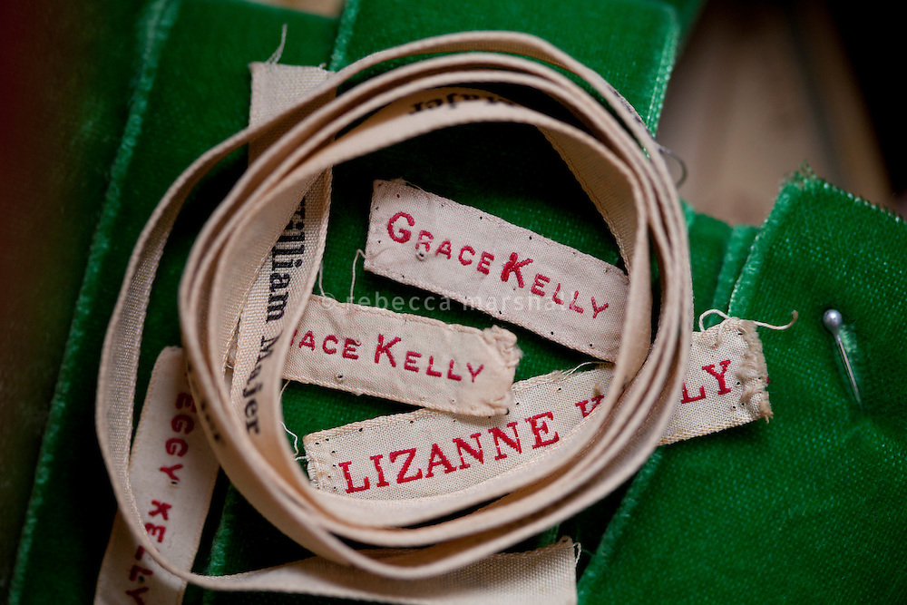 Name labels used by Grace Kelly in her mother's sewing box, part of the collection at the Princess Grace Irish Library, Monaco, 6 July 2013
