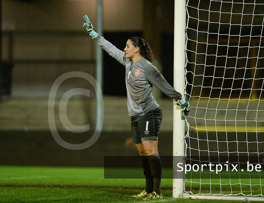 20151130 - LEUVEN ,  BELGIUM : Serbian goalkeeper Susanne Nilsson pictured during the female soccer game between the Belgian Red Flames and Serbia , the third game in the qualification for the European Championship in The Netherlands 2017  , Monday 30 November 2015 at Stadion Den Dreef  in Leuven , Belgium. PHOTO DAVID CATRY
