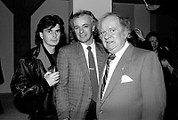 MONTREAL, CANADA - File Photo - Quebec Film maker Jean-Claude Lauzon (L), Didier Farre (M) and a 3rd person, on February 3, 1988.<br /> <br /> Photo : agence quebec presse - Pierre Roussel