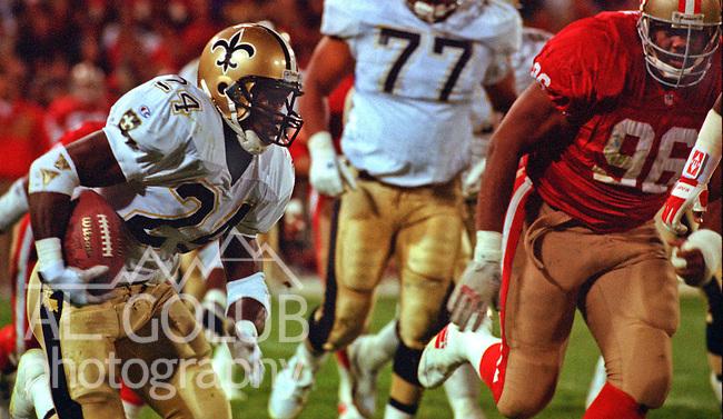 San Francisco 49ers vs. New Orleans Saints at Candlestick Park Monday, November 22, 1993.  49ers beat Saints 42-7.  New Orleans Saints running back Derek D. Brown (24).