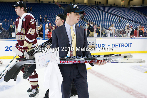 Jimmy Hayes (BC - 10), Chris Malloy (BC - Student Manager), Tom Maguire - The Boston College Eagles defeated the University of Wisconsin Badgers 5-0 to win the NCAA Division 1 national championship at the 2010 Frozen Four on Saturday, April 10, 2010, at Ford Field in Detroit, Michigan.