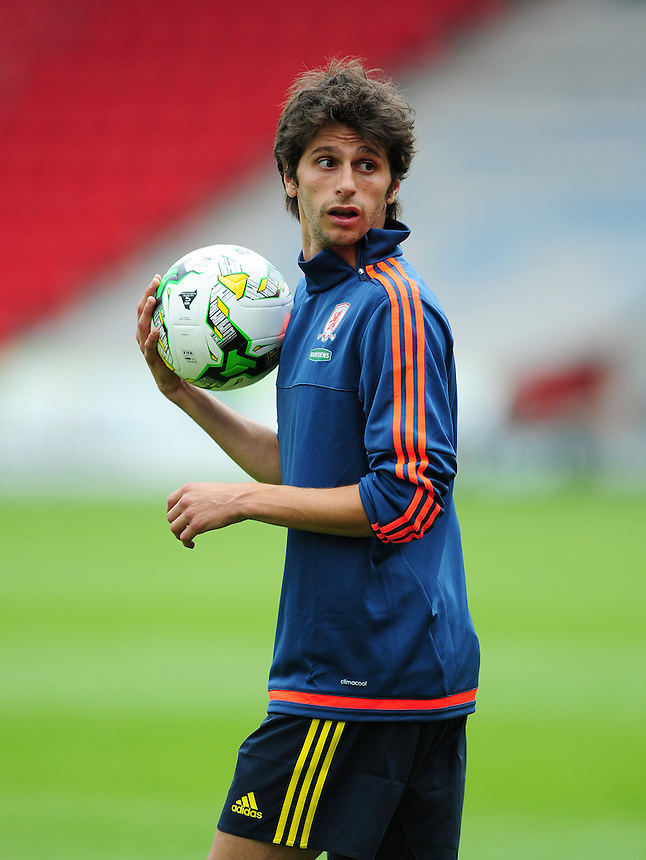 Middlesbrough&rsquo;s Diego Fabbrini during the pre-match warm-up <br /> <br /> Photographer Chris Vaughan/CameraSport<br /> <br /> Football - Pre-Season Friendly - Doncaster Rovers v Middlesbrough - Saturday 25th July 2015 - Keepmoat Stadium, Doncaster<br /> <br /> &copy; CameraSport - 43 Linden Ave. Countesthorpe. Leicester. England. LE8 5PG - Tel: +44 (0) 116 277 4147 - admin@camerasport.com - www.camerasport.com