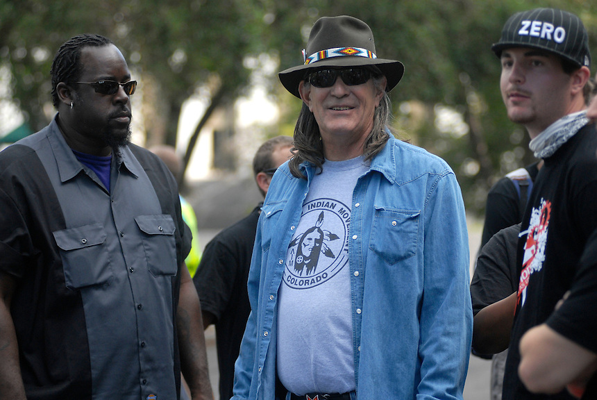 24 Aug 08: Former University of Colorado professor Ward Churchill is surrounded by bodyguards during the Recreate 68 event at the Colorado state capitol building. On the day before the Democratic National Convention is scheduled to begin about 1,500 people participated in the ReCreate 68 rally, which included a march from the Colorado state capitol building to the Pepsi Center.