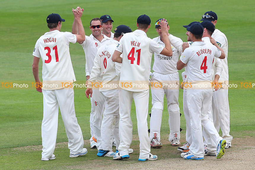 Dean Cosker of Glamorgan (2nd L) is congratulated on the wicket of Mark Pettini - Essex CCC vs Glamorgan CCC - LV County Championship Division Two Cricket at the Essex County Ground, Chelmsford - 02/06/14 - MANDATORY CREDIT: Gavin Ellis/TGSPHOTO - Self billing applies where appropriate - 0845 094 6026 - contact@tgsphoto.co.uk - NO UNPAID USE