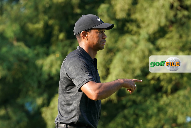 Tiger Woods (USA) points after teeing off on the 12th hole during the second round of the 100th PGA Championship at Bellerive Country Club, St. Louis, Missouri, USA. 8/11/2018.<br /> Picture: Golffile.ie | Brian Spurlock<br /> <br /> All photo usage must carry mandatory copyright credit (© Golffile | Brian Spurlock)