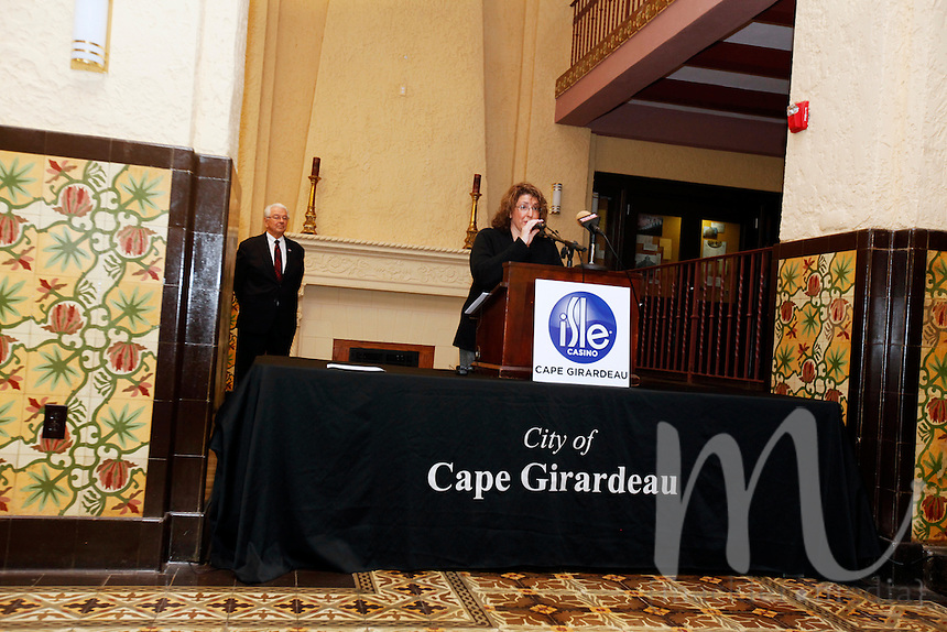 Jill Alexander, Senior Director of Corporate Communication at Isle of Capri Casinos, speaks inside the Marquette Tower and Hotel on Monday, Nov. 21, 2011 in Cape Girardeau, Mo. Isle announced the appointment of Chet Koch as vice president and general manager of Isle Casino Cape Girardeau, effective January 2, 2012. Isle Casino Cape Girardeau has also secured temporary office space at the Marquette Hotel Tower located on Broadway in downtown Cape Girardeau.