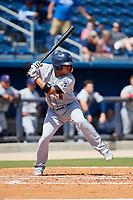 Jacksonville Jumbo Shrimp catcher Rodrigo Vigil (6) at bat during a game against the Biloxi Shuckers on May 6, 2018 at MGM Park in Biloxi, Mississippi.  Biloxi defeated Jacksonville 6-5.  (Mike Janes/Four Seam Images)