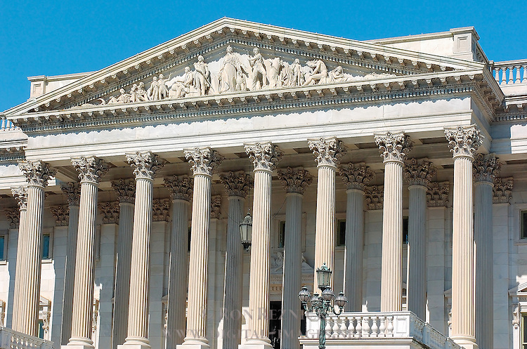 United States Senate, Portico and Pediment, US Capitol Building, Capitol Hill, National Mall, Washington DC