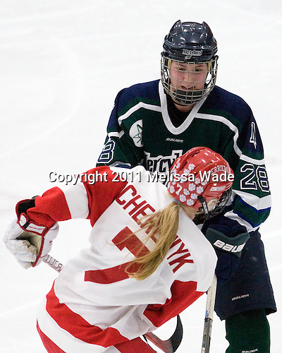 Cassea Schols (Mercyhurst - 28), Lauren Cherewyk (BU - 7) - The Boston University Terriers defeated the visiting Mercyhurst College Lakers 4-2 in their NCAA Quarterfinal matchup on Saturday, March 12, 2011, at Walter Brown Arena in Boston, Massachusetts.