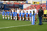 FRISCO, TX - MARCH 11: England stands for their Nation Anthem during a game between England and Spain at Toyota Stadium on March 11, 2020 in Frisco, Texas.
