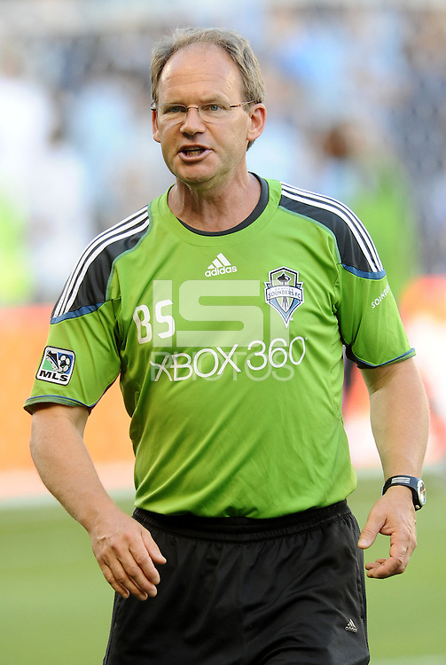 Brian Schmetzer Assistant Coach Settle Sounders.. Sporting Kansas City were defeated 1-2 by Seattle Sounders at LIVESTRONG Sporting Park, Kansas City, Kansas.