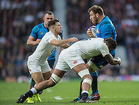 Twickenham, United Kingdom. left , Danny CARE and Courty LAWES combineto stop, Prop, Lorenzo CITTADINI, during the  6 Nations International Rugby Match, England vs Italy at the RFU Stadium, Twickenham, England, <br /> <br /> Sunday  26/02/2017<br /> <br /> [Mandatory Credit; Peter Spurrier/Intersport-images]