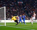 Nederland, Amsterdam, 29 september 2012.Eredivisie .Seizoen 2012-2013.Ajax-FC Twente.Nikolay Mihaylov, keeper (doelman) van FC Twente keert de inzet van Niklas Moisander (r.) van Ajax.