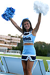 21 September 2012: UNC cheerleader. The University of North Carolina Tar Heels defeated the University of Virginia Cavaliers 1-0 at Fetzer Field in Chapel Hill, North Carolina in a 2012 NCAA Division I Men's Soccer game.