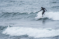 Great Lakes surfing on Lake Superior at Marquette, Michigan.