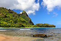 Makana Ridge at Ha'ena Beach Park, seen on a sunny dray from Tunnels Beach, north shore of Kaua'i.