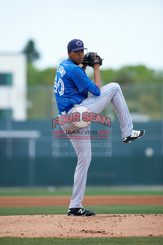 Toronto Blue Jays Angel Perdomo (80) during a minor league Spring Training game against the Pittsburgh Pirates on March 24, 2016 at Pirate City in Bradenton, Florida.  (Mike Janes/Four Seam Images)