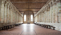 40 metres above the rock, 34 metres long and 10 metres wide, the monk?s refectory with its walls of light, lies on the same level as the abbey church and the cloister, the Merveille (Marvel), 13th century, thanks to a donation by the king of France, Philip Augustus who offered Abbot Jourdain, a grant for the construction of a new Gothic-style architectural set, Le Mont Saint Michel, Manche, Basse Normandie, France. Picture by Manuel Cohen