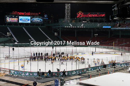 """- Members of the Boston Pride helped put on a clinic for """"Women's and Girls' Hockey Day on Tuesday, January 10, 2017, at Fenway Park in Boston, Massachusetts.The Boston College Eagles defeated the Harvard University Crimson 3-1 on Tuesday, January 10, 2017, at Fenway Park."""