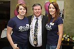 Traci Whelan and Erin Clarke from Drogheda Animal Rescue with Mayor Paul Bell at the Charity Abseil off the roof of the D Hotel...Picture Jenny Matthews/Newsfile.ie