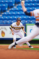 Michigan Wolverines left fielder Matt Ramsay (46) leads off first base during the first game of a doubleheader against the Canisius College Golden Griffins on June 20, 2016 at Tradition Field in St. Lucie, Florida.  Michigan defeated Canisius 6-2.  (Mike Janes/Four Seam Images)