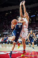 College Park, MD - DEC 29, 2016: Connecticut Huskies guard Kia Nurse (11) is met in the paint by Maryland Terrapins center Brionna Jones (42) during game between No. 1 UConn and the No. 3 Terrapins at the XFINITY Center in College Park, MD. UConn defeated Maryland 87-81. (Photo by Phil Peters/Media Images International)