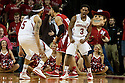 March 9, 2014: Benny Parker (3) of the Nebraska Cornhuskers and Terran Petteway (5) of the Nebraska Cornhuskers react to the ball going out of bounds against the Wisconsin Badgers at the Pinnacle Bank Arena, Lincoln, NE. Nebraska 77 Wisconsin 68.