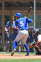 GCL Blue Jays shortstop Yeltsin Gudino (5) at bat during a game against the GCL Tigers on June 30, 2014 at Tigertown in Lakeland, Florida.  GCL Blue Jays defeated the GCL Tigers 3-1.  (Mike Janes/Four Seam Images)