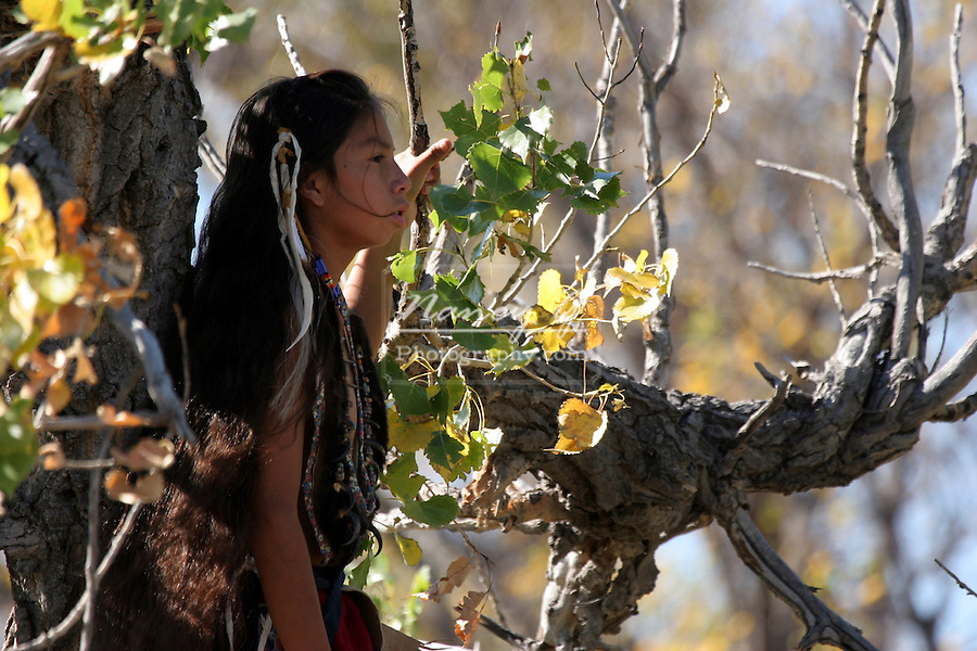 While a group of young Native American Indian children play in a old tree a young boy watches over and protects the children