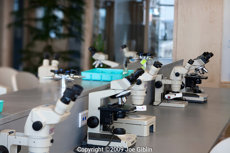 Microscopes in a new biology lab on the campus of the University of Rhode Island. (Photo/Joe Giblin)