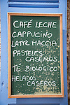 Cafe menu board, Arta, Mallorca