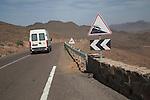 Steep hill road sign, Atlas Mountains, Jebel Sarhro mountains near Tizi n Tinififft Pass, Morocco