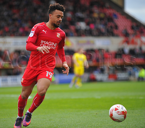April 14th 2017, County Ground, Swindon, Wiltshire; Skybet league 1 football, Swindon Town versus AFC Wimbledon; Nicky Ajose for Swindon Town controls the ball