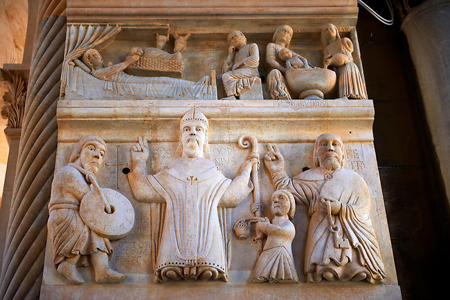 Medieval sculptures   of the Cathedral of St Doimus dedicated to the Virgin mary, originally built onto the octagonal 4th cent AD mausoleum of  Roman Emperor Diocletian. Diocletian's, palace, Split, Croatia. A UNESCO World Heritage Site