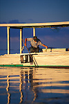 Elihu Abbott uses a trotline to catch crabs in the Honga River, a tributary of Chesapeake Bay.