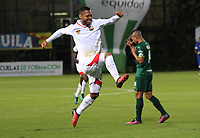 BOGOTA -COLOMBIA, 22-05-2017.Juan Suescun player of Rionegro Aguilas celebrates hid goal agasnt of La Equidad .Action game between  La Equidad and Rionegro Aguilas during match for the date 19 of the Aguila League I 2017 played at Metroplitano of Techo stadium . Photo:VizzorImage / Felipe Caicedo  / Staff