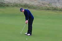 Joseph Byrne (Baltinglass) on the 12th green during Round 2 of the Ulster Boys Championship at Portrush Golf Club, Portrush, Co. Antrim on the Valley course on Wednesday 31st Oct 2018.<br /> Picture:  Thos Caffrey / www.golffile.ie<br /> <br /> All photo usage must carry mandatory copyright credit (&copy; Golffile | Thos Caffrey)