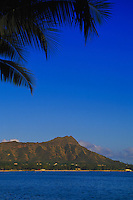Diamond head view with palms, Waikiki, Oahu