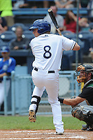 Asheville Tourists designated hitter Kyle Parker #8 swings at pitch during a game against the Augusta Green Jackets at McCormick Field on July 10, 2011 in Asheville, North Carolina.  Augusta won the game 10-2.   (Tony Farlow/Four Seam Images)
