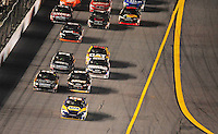 Feb 9, 2008; Daytona, FL, USA; Nascar Sprint Cup Series driver Michael Waltrip (55) leads the field during the Bud Shootout at Daytona International Speedway. Mandatory Credit: Mark J. Rebilas-US PRESSWIRE