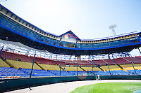 View behind home plate in historic Rosenblatt Stadium.  This is the last season for the historic venue. May 5th, 2010; Oklahoma CIty Redhawks vs Omaha Royals at historic Rosenblatt Stadium in Omaha Nebraska.  Photo by: William Purnell/Four Seam Images