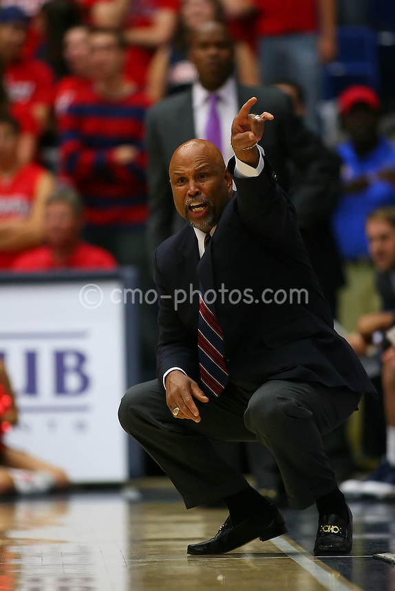 Nov 17, 2008; Tucson, AZ, USA; Florida Atlantic Owls head coach Mike Jarvis gestures to his team in the first half of a NIT Season Tip-Off game against the Arizona Wildcats at the McKale Center.  Arizona won the game 75-62.  Mandatory Credit: Chris Morrison-US PRESSWIRE