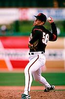 Orel Hershiser of the San Francisco Giants participates in a Major League Baseball Spring Training game during the 1998 season in Phoenix, Arizona. (Larry Goren/Four Seam Images)