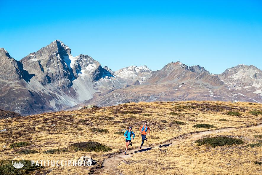 Two women trail running on Piz Languard, above Pontresina, Switzerland
