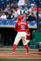 Clearwater Threshers designated hitter Scott Kingery (31) at bat during a game against the Charlotte Stone Crabs on April 12, 2016 at Bright House Field in Clearwater, Florida.  Charlotte defeated Clearwater 2-1.  (Mike Janes/Four Seam Images)